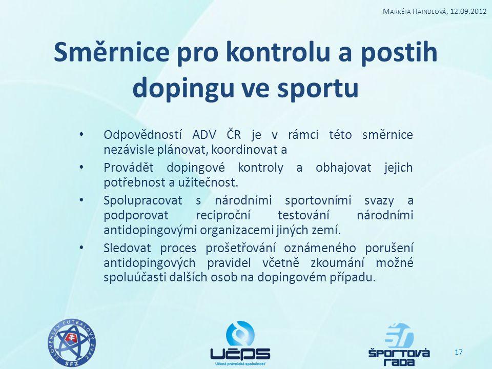 Směrnice pro kontrolu a postih dopingu ve sportu Odpovědností ADV ČR je v rámci této směrnice nezávisle plánovat, koordinovat a Provádět dopingové kon