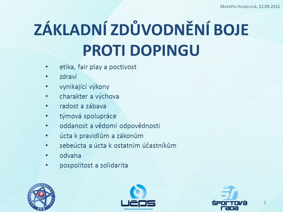 Role a odpovědnosti národních antidopingových organizací Přijmout a zavést antidopingovou politiku a pravidla, která jsou v souladu s Kodexem.