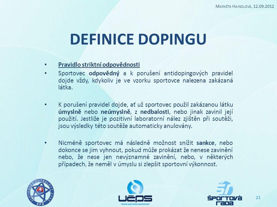 DEFINICE DOPINGU Pravidlo striktní odpovědnosti Sportovec odpovědný a k porušení antidopingových pravidel dojde vždy, kdykoliv je ve vzorku sportovce