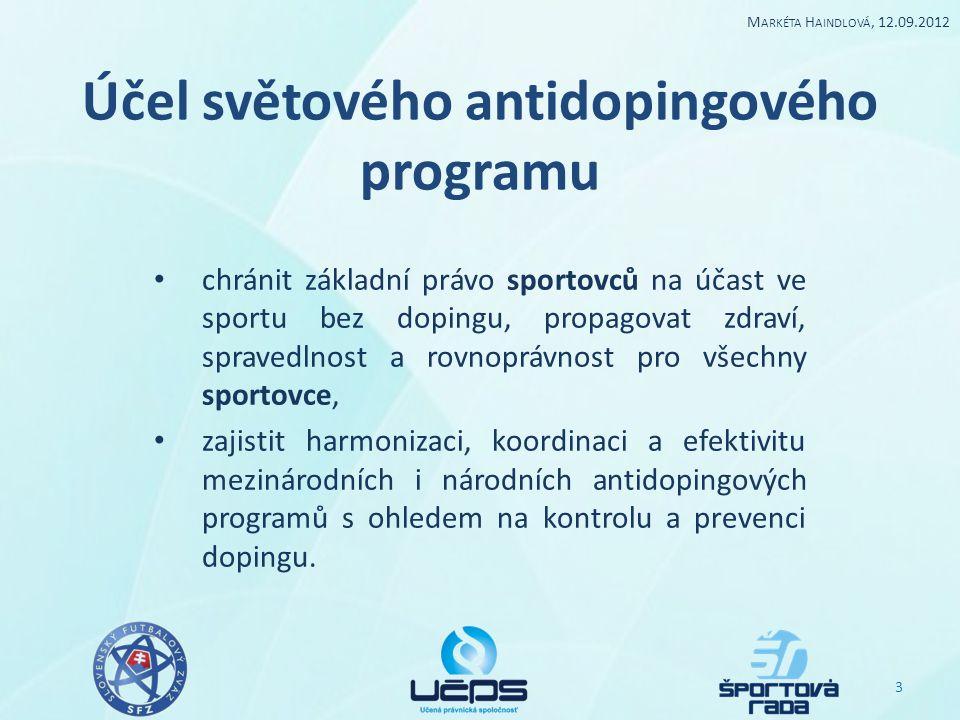 Účel světového antidopingového programu chránit základní právo sportovců na účast ve sportu bez dopingu, propagovat zdraví, spravedlnost a rovnoprávno