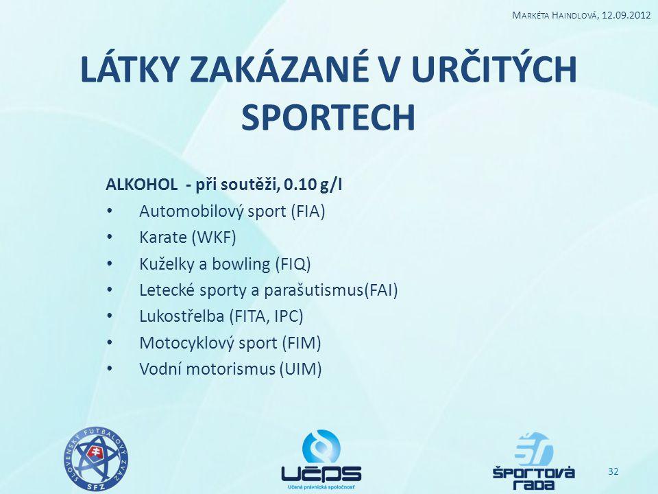 LÁTKY ZAKÁZANÉ V URČITÝCH SPORTECH ALKOHOL - při soutěži, 0.10 g/l Automobilový sport (FIA) Karate (WKF) Kuželky a bowling (FIQ) Letecké sporty a para
