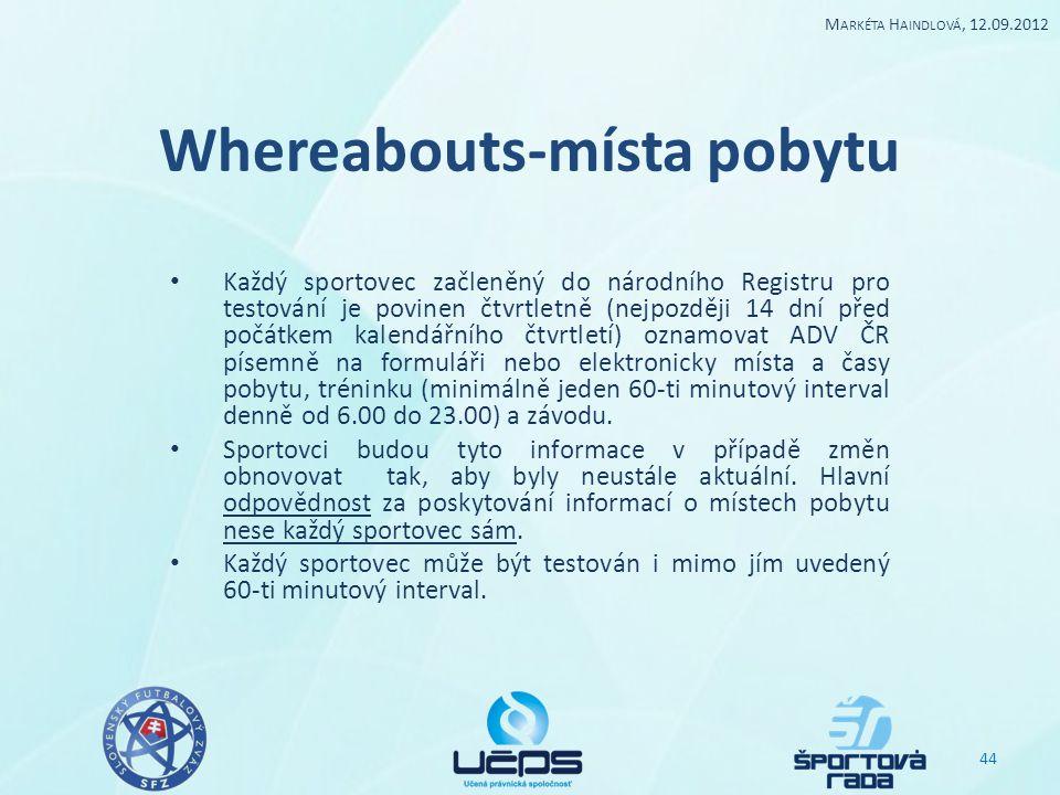 Whereabouts-místa pobytu Každý sportovec začleněný do národního Registru pro testování je povinen čtvrtletně (nejpozději 14 dní před počátkem kalendář