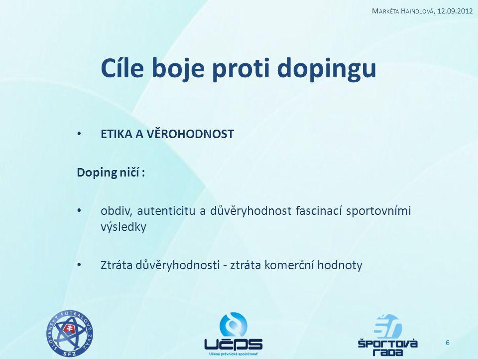 """Cíle boje proti dopingu """"vzor sportovní organizace - instituce pro vzdělávání mládeže sociální funkce - vzorová pro společnost 7 M ARKÉTA H AINDLOVÁ, 12.09.2012"""