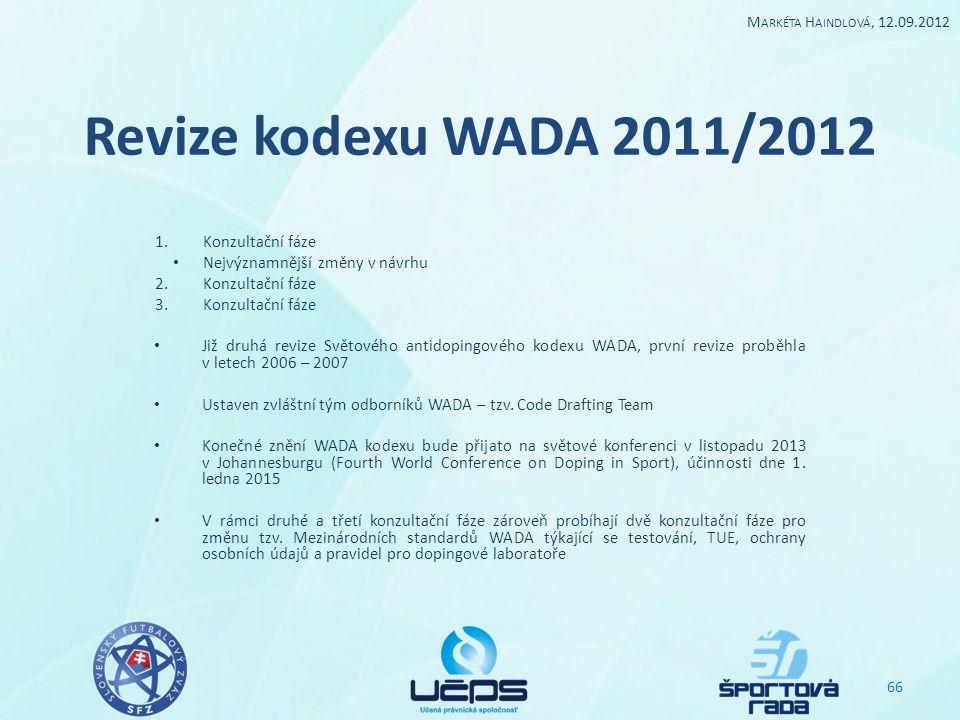 Revize kodexu WADA 2011/2012 1.Konzultační fáze Nejvýznamnější změny v návrhu 2.Konzultační fáze 3.Konzultační fáze Již druhá revize Světového antidop