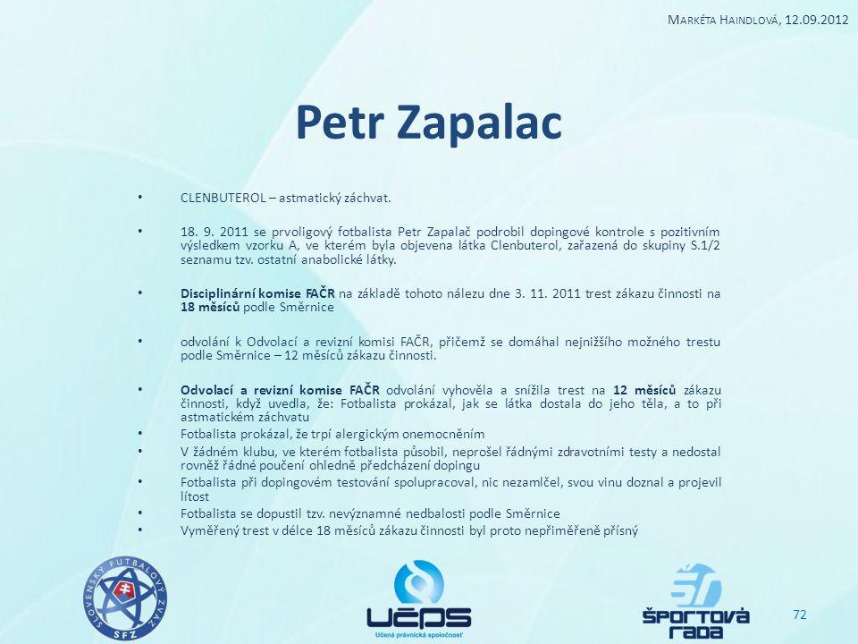 Petr Zapalac CLENBUTEROL – astmatický záchvat. 18. 9. 2011 se prvoligový fotbalista Petr Zapalač podrobil dopingové kontrole s pozitivním výsledkem vz