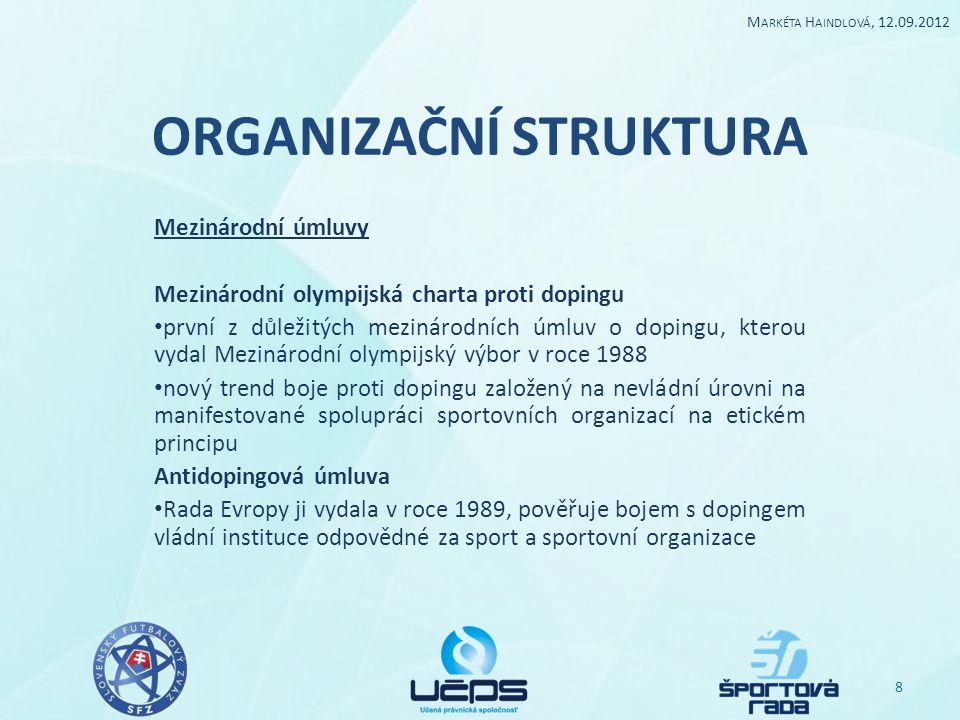 ORGANIZAČNÍ STRUKTURA Mezinárodní úmluvy Mezinárodní olympijská charta proti dopingu první z důležitých mezinárodních úmluv o dopingu, kterou vydal Me