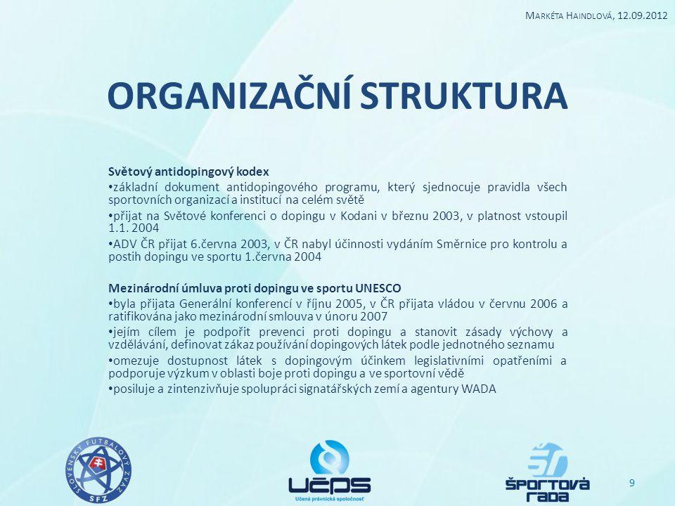ORGANIZAČNÍ STRUKTURA Světový antidopingový kodex základní dokument antidopingového programu, který sjednocuje pravidla všech sportovních organizací a