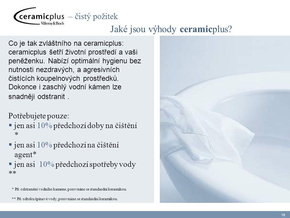 Jaké jsou výhody ceramicplus? Co je tak zvláštního na ceramicplus: ceramicplus šetří životní prostředí a vaši peněženku. Nabízí optimální hygienu bez