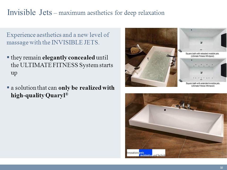 Invisible Jets – maximum aesthetics for deep relaxation Experience aesthetics and a new level of massage with the INVISIBLE JETS.  they remain elegan