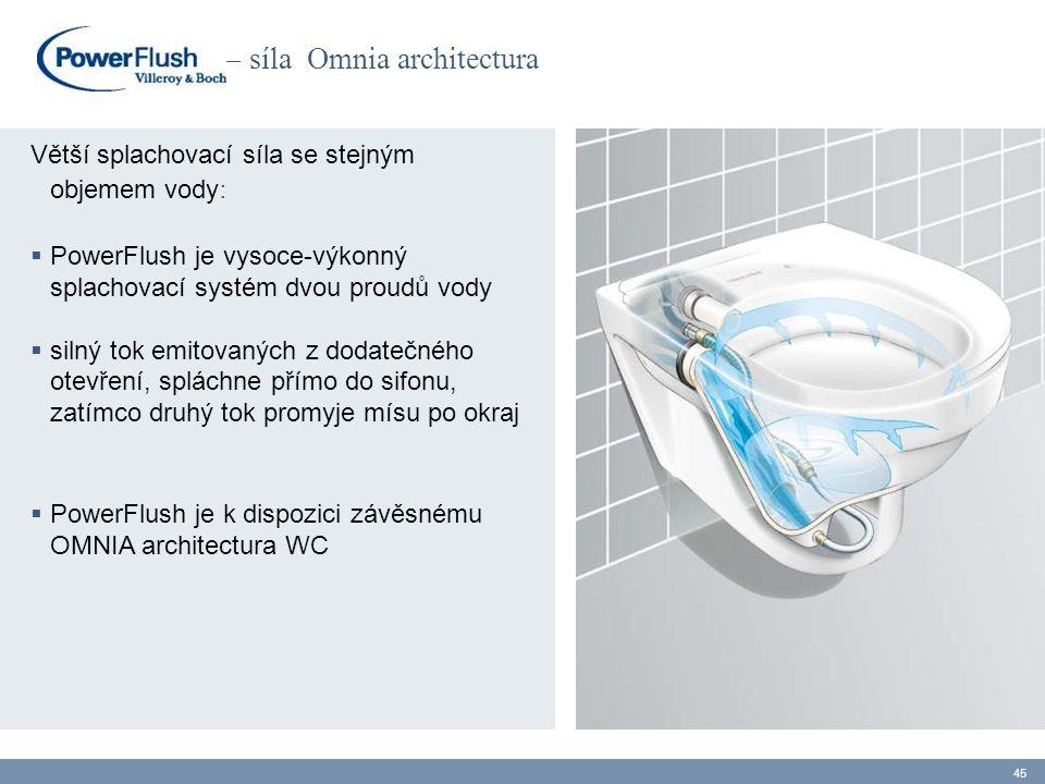 – síla Omnia architectura Větší splachovací síla se stejným objemem vody :  PowerFlush je vysoce-výkonný splachovací systém dvou proudů vody  silný