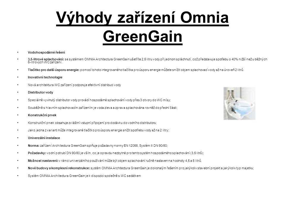 Výhody zařízení Omnia GreenGain Vodohospodárné řešení 3,5-litrové splachování: se systémem OMNIA Architectura GreenGain ušetříte 2,5 litru vody při jednom spláchnutí, což představuje spotřebu o 40% nižší než u běžných 6-litrových WC zařízení.