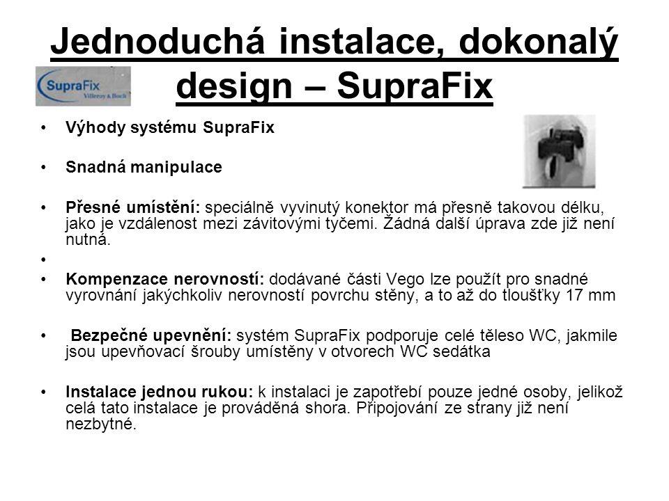 Jednoduchá instalace, dokonalý design – SupraFix Výhody systému SupraFix Snadná manipulace Přesné umístění: speciálně vyvinutý konektor má přesně takovou délku, jako je vzdálenost mezi závitovými tyčemi.
