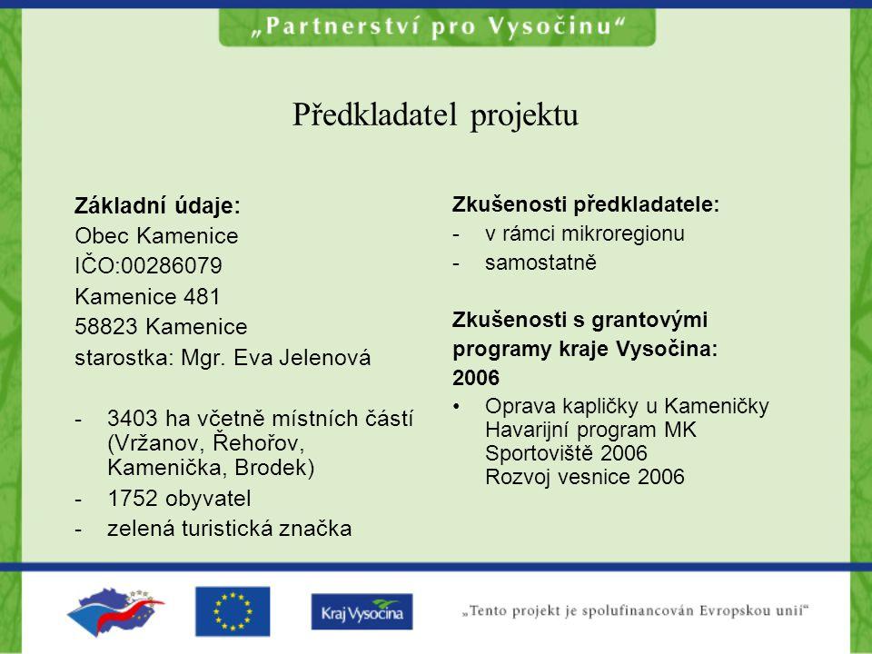 Předkladatel projektu Základní údaje: Obec Kamenice IČO:00286079 Kamenice 481 58823 Kamenice starostka: Mgr.