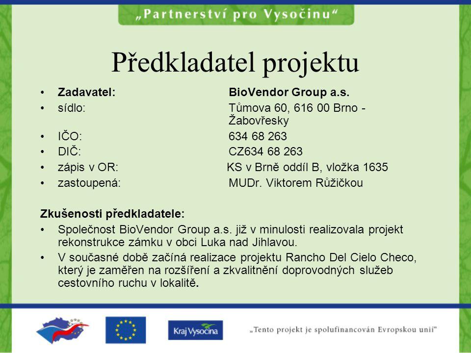 Předkladatel projektu Zadavatel: BioVendor Group a.s.