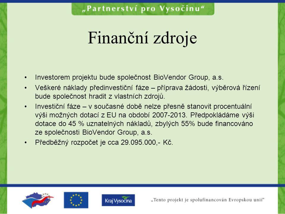 Finanční zdroje Investorem projektu bude společnost BioVendor Group, a.s.