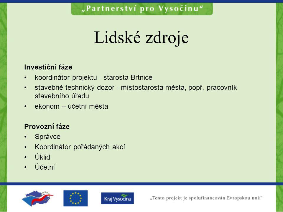 Lidské zdroje Investiční fáze koordinátor projektu - starosta Brtnice stavebně technický dozor - místostarosta města, popř.