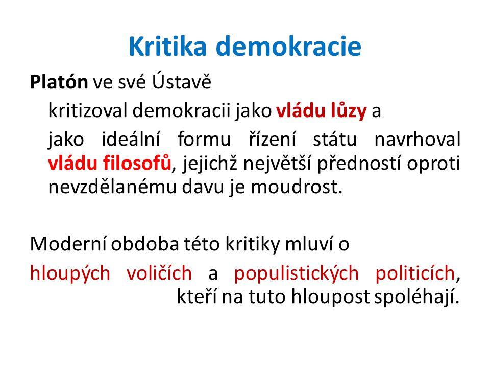 Kritika demokracie Platón ve své Ústavě kritizoval demokracii jako vládu lůzy a jako ideální formu řízení státu navrhoval vládu filosofů, jejichž nejv