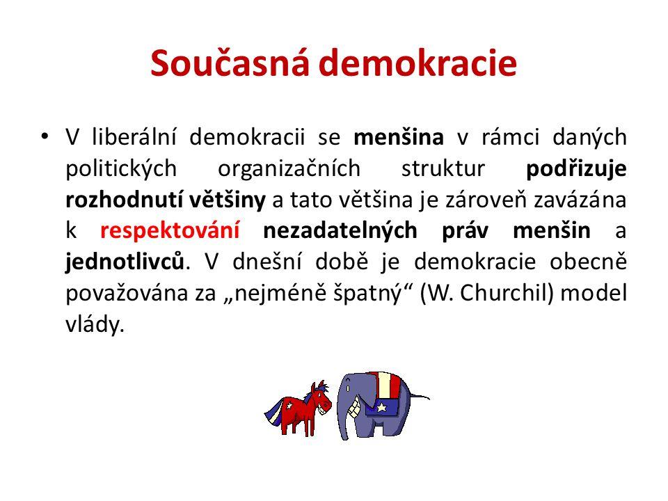 Současná demokracie V liberální demokracii se menšina v rámci daných politických organizačních struktur podřizuje rozhodnutí většiny a tato většina je