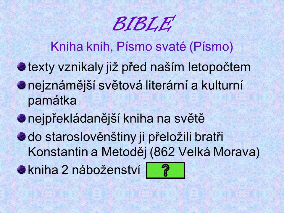 BIBLE Kniha knih, Písmo svaté (Písmo) texty vznikaly již před naším letopočtem nejznámější světová literární a kulturní památka nejpřekládanější kniha