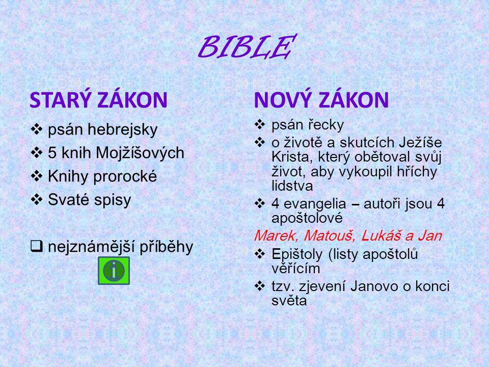BIBLE STARÝ ZÁKON  psán hebrejsky  5 knih Mojžíšových  Knihy prorocké  Svaté spisy  nejznámější příběhy NOVÝ ZÁKON  psán řecky  o životě a skut