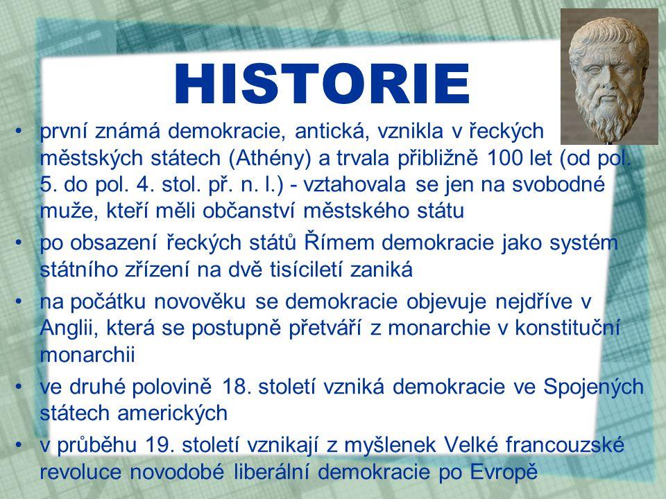HISTORIE první známá demokracie, antická, vznikla v řeckých městských státech (Athény) a trvala přibližně 100 let (od pol.