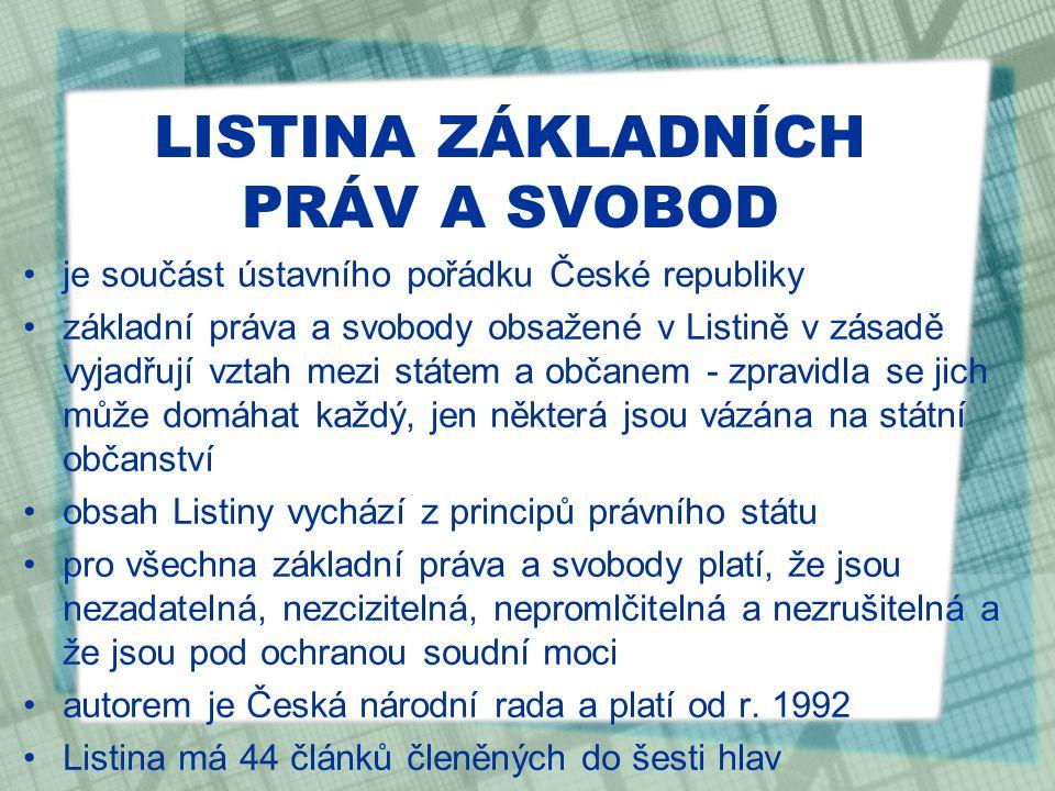 LISTINA ZÁKLADNÍCH PRÁV A SVOBOD je součást ústavního pořádku České republiky základní práva a svobody obsažené v Listině v zásadě vyjadřují vztah mezi státem a občanem - zpravidla se jich může domáhat každý, jen některá jsou vázána na státní občanství obsah Listiny vychází z principů právního státu pro všechna základní práva a svobody platí, že jsou nezadatelná, nezcizitelná, nepromlčitelná a nezrušitelná a že jsou pod ochranou soudní moci autorem je Česká národní rada a platí od r.