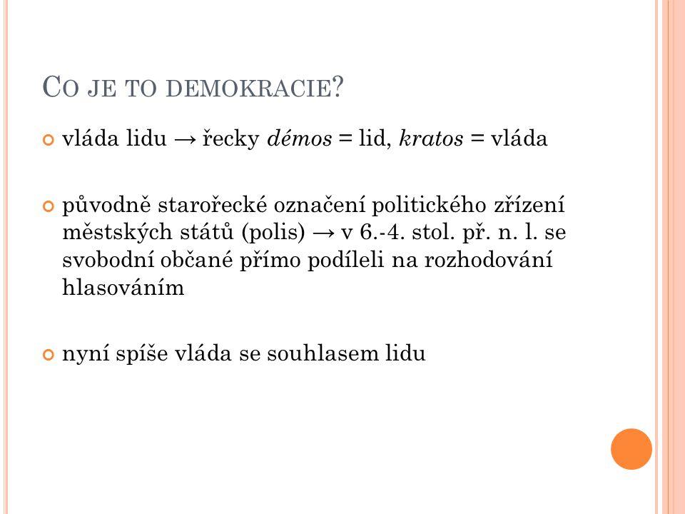 C O JE TO DEMOKRACIE ? vláda lidu → řecky démos = lid, kratos = vláda původně starořecké označení politického zřízení městských států (polis) → v 6.-4