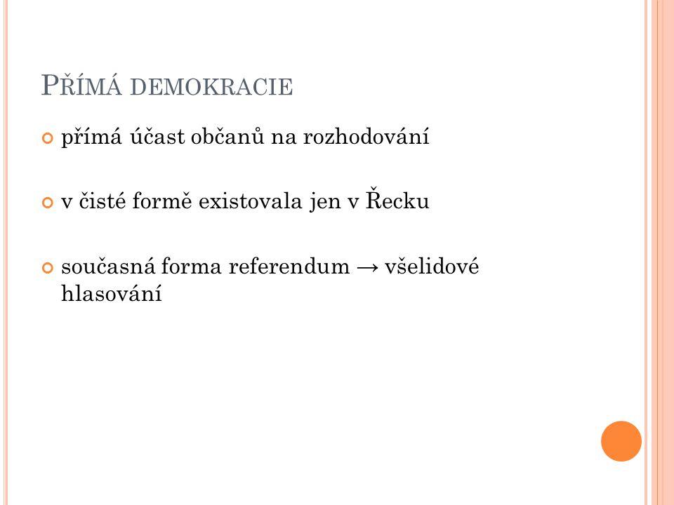P ŘÍMÁ DEMOKRACIE přímá účast občanů na rozhodování v čisté formě existovala jen v Řecku současná forma referendum → všelidové hlasování
