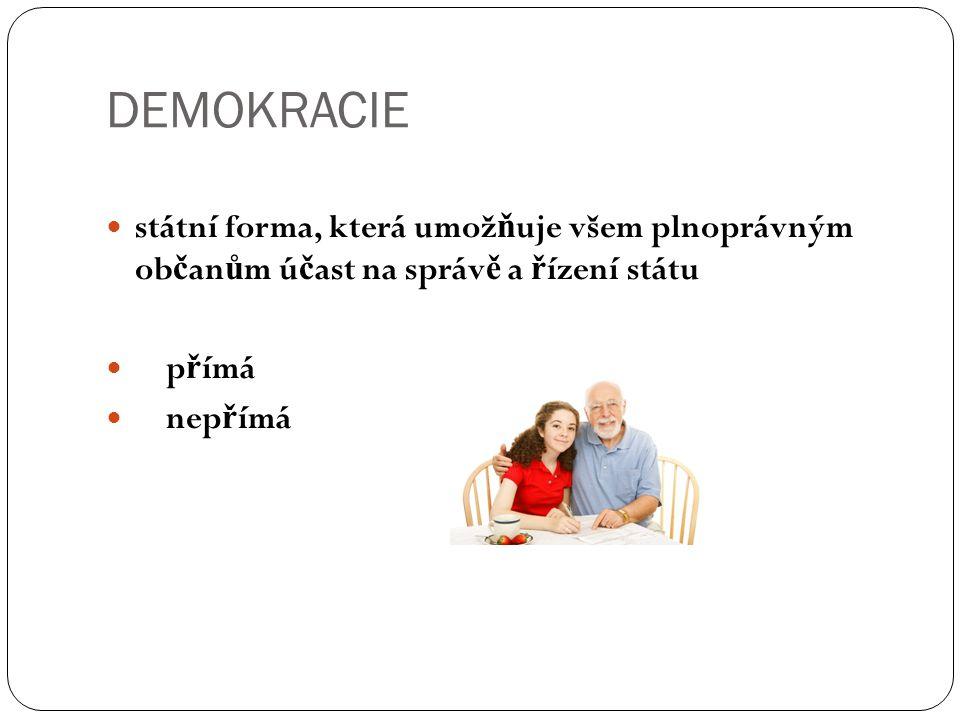DEMOKRACIE státní forma, která umož ň uje všem plnoprávným ob č an ů m ú č ast na správ ě a ř ízení státu p ř ímá nep ř ímá