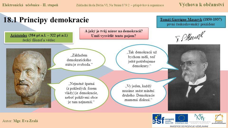 Autor: Mgr. Eva Zralá 18.1 Principy demokracie Elektronická učebnice - II. stupeň Základní škola Děčín VI, Na Stráni 879/2 – příspěvková organizace Vý