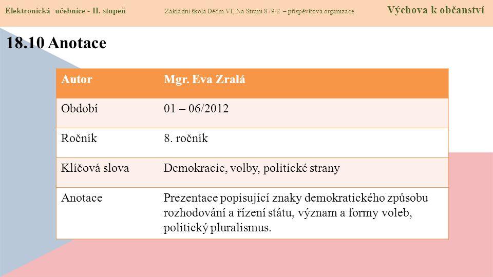 18.10 Anotace Elektronická učebnice - II.