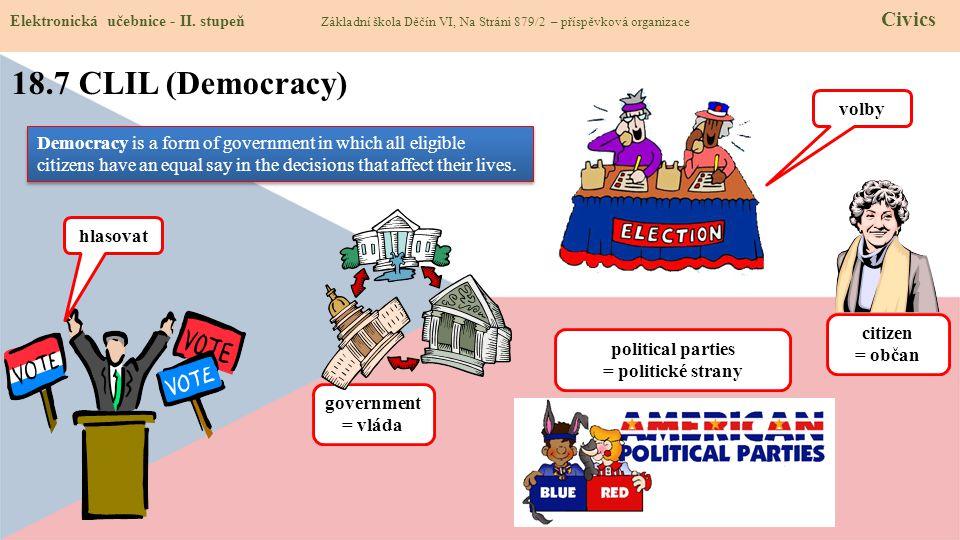 18.7 CLIL (Democracy) Elektronická učebnice - II. stupeň Základní škola Děčín VI, Na Stráni 879/2 – příspěvková organizace Civics Democracy is a form