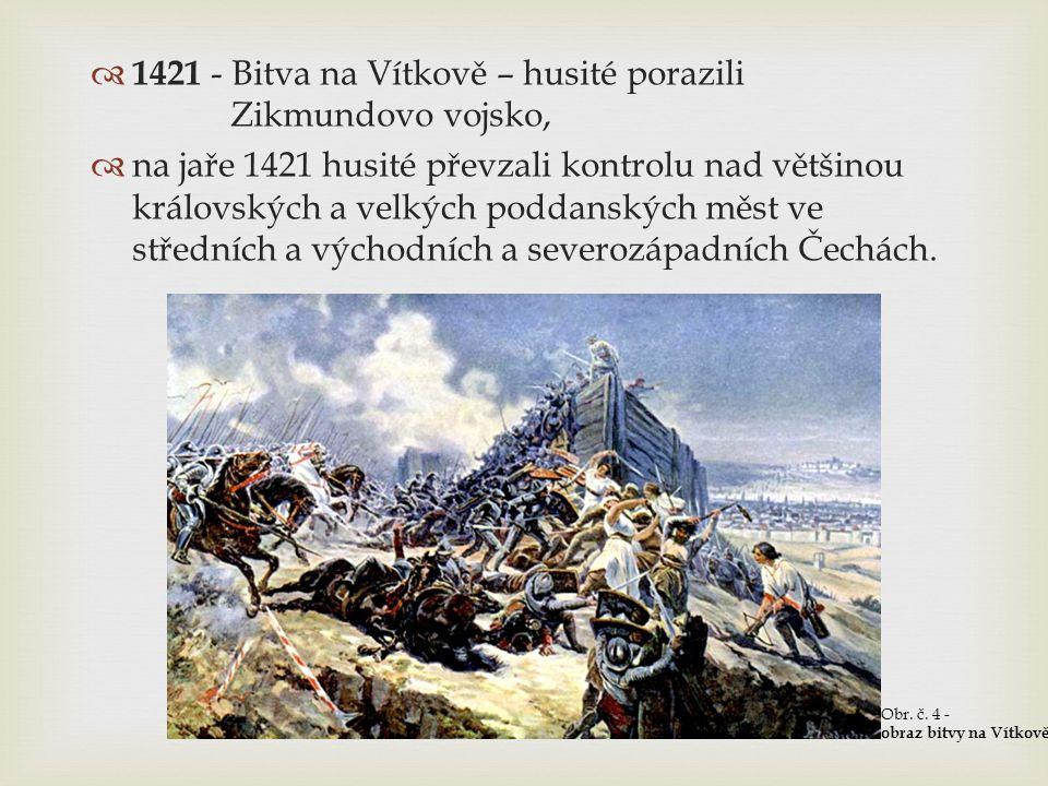  1421 - Bitva na Vítkově – husité porazili Zikmundovo vojsko,  na jaře 1421 husité převzali kontrolu nad většinou královských a velkých poddanských