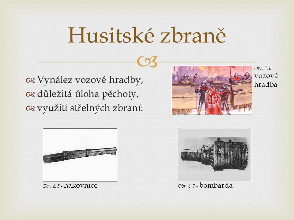  Vynález vozové hradby,  důležitá úloha pěchoty,  využití střelných zbraní: Husitské zbraně Obr. č. 5 - hákovnice Obr. č. 7 - bombarda Obr. č. 6