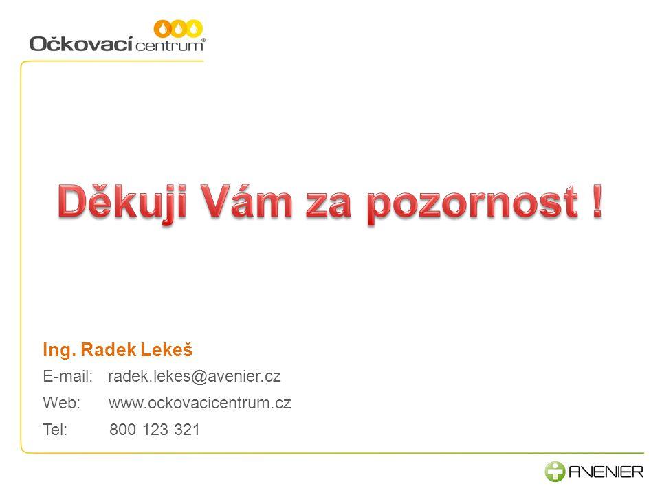 Ing. Radek Lekeš E-mail: radek.lekes@avenier.cz Web:www.ockovacicentrum.cz Tel: 800 123 321