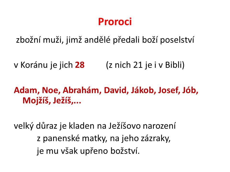 Proroci zbožní muži, jimž andělé předali boží poselství v Koránu je jich 28 (z nich 21 je i v Bibli) Adam, Noe, Abrahám, David, Jákob, Josef, Jób, Mojžíš, Ježíš,...