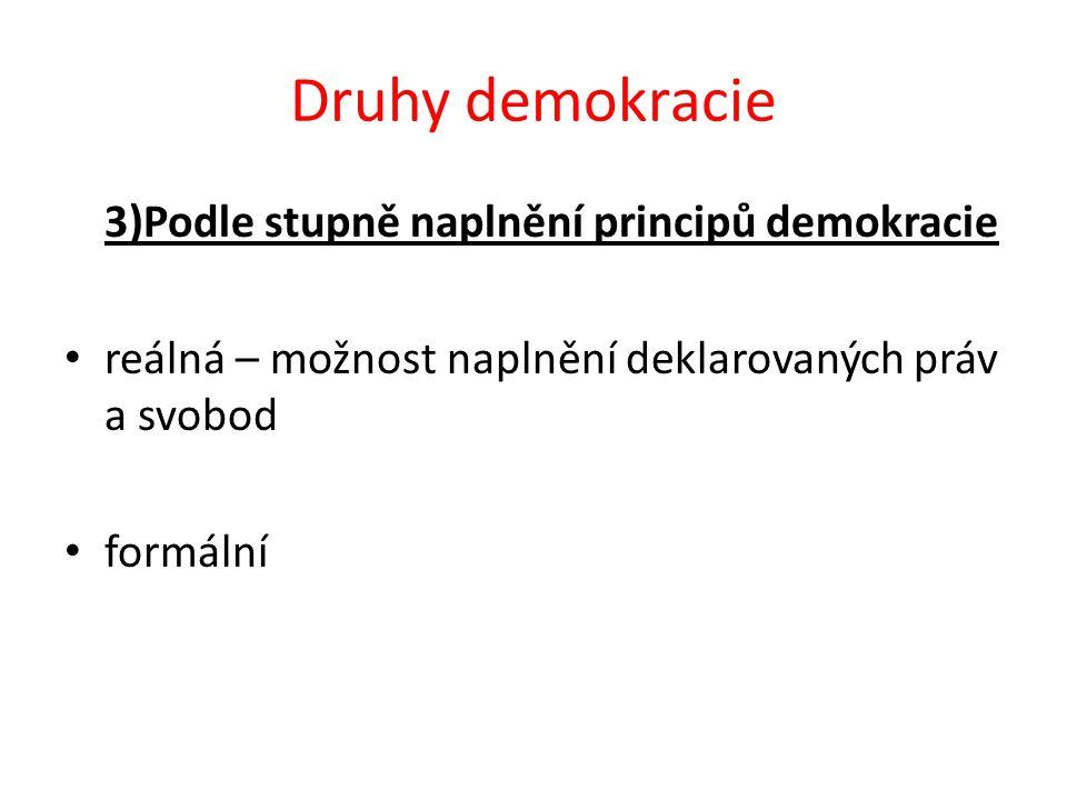 Druhy demokracie 3)Podle stupně naplnění principů demokracie reálná – možnost naplnění deklarovaných práv a svobod formální