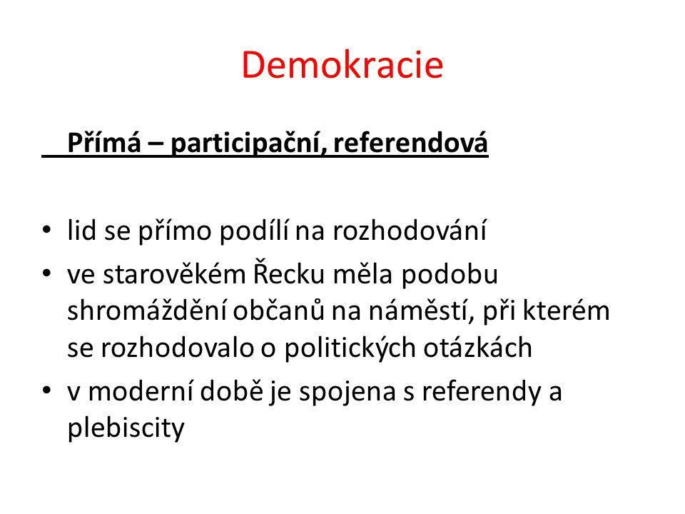 Demokracie Přímá – participační, referendová lid se přímo podílí na rozhodování ve starověkém Řecku měla podobu shromáždění občanů na náměstí, při kte