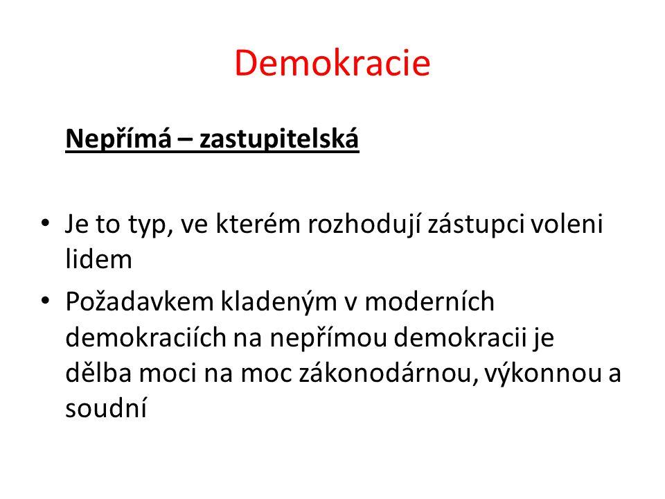 Demokracie Nepřímá – zastupitelská Je to typ, ve kterém rozhodují zástupci voleni lidem Požadavkem kladeným v moderních demokraciích na nepřímou demok