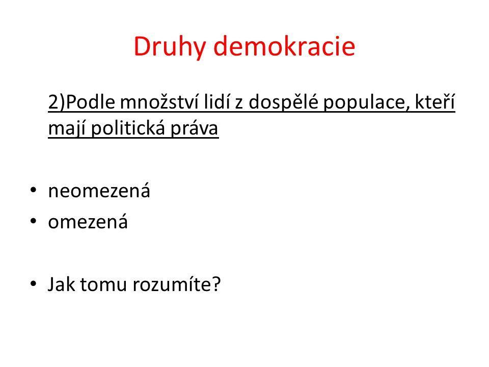 Druhy demokracie 2)Podle množství lidí z dospělé populace, kteří mají politická práva neomezená omezená Jak tomu rozumíte?