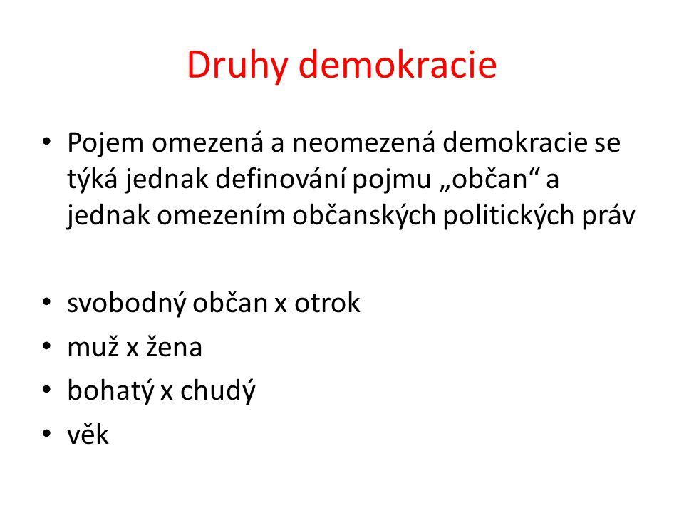 """Druhy demokracie Pojem omezená a neomezená demokracie se týká jednak definování pojmu """"občan"""" a jednak omezením občanských politických práv svobodný o"""