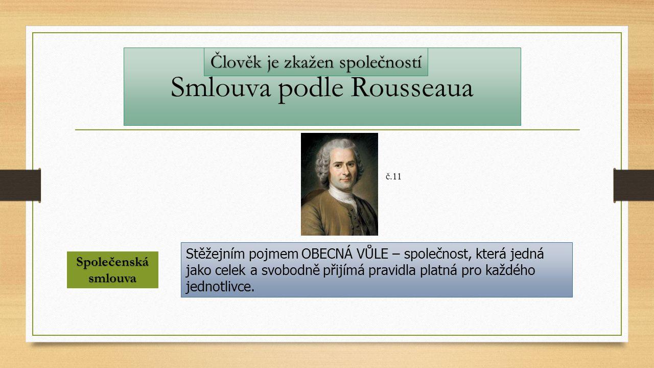 Smlouva podle Rousseaua Stěžejním pojmem OBECNÁ VŮLE – společnost, která jedná jako celek a svobodně přijímá pravidla platná pro každého jednotlivce.
