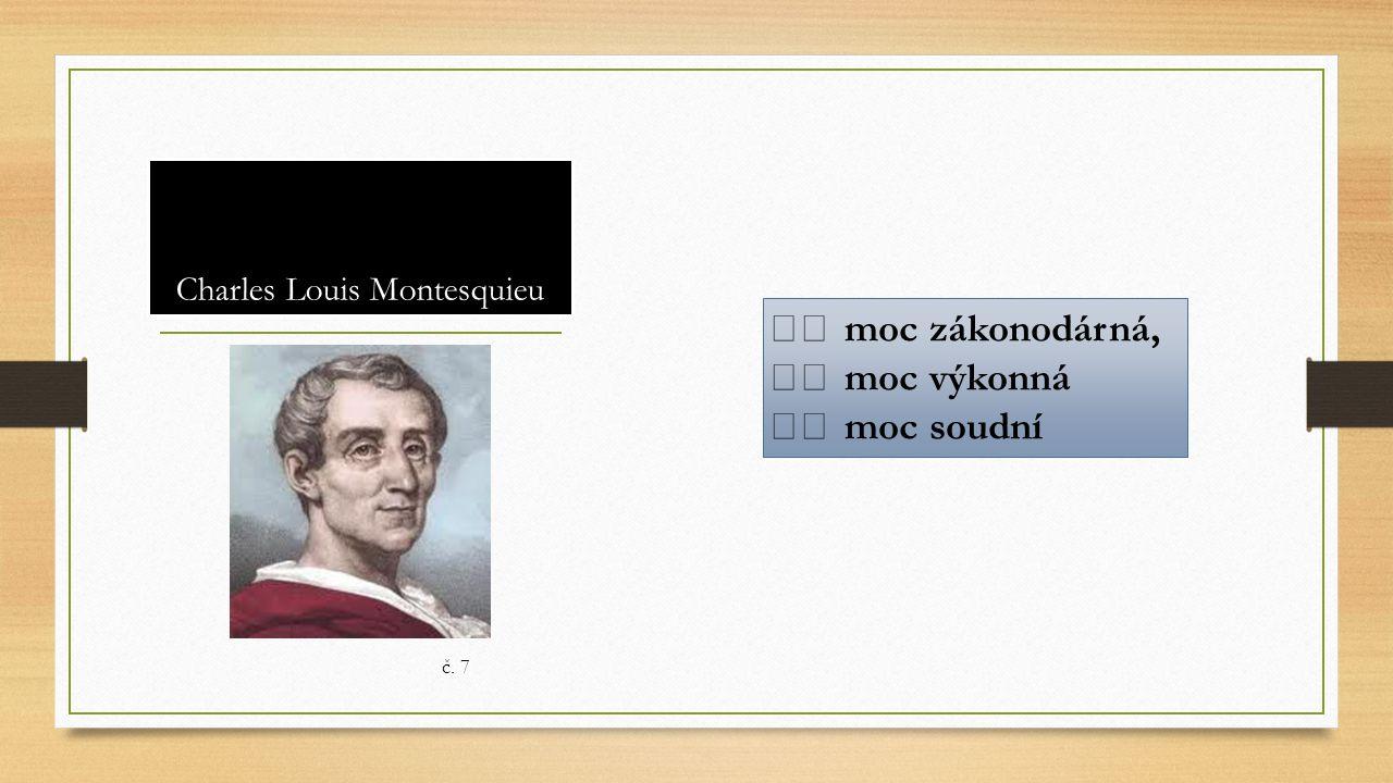 Charles Louis Montesquieu moc zákonodárná, moc výkonná moc soudní č. 7