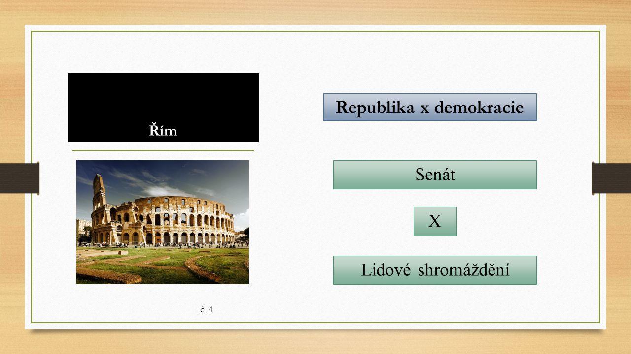Řím Republika x demokracie Senát č. 4 Lidové shromáždění X