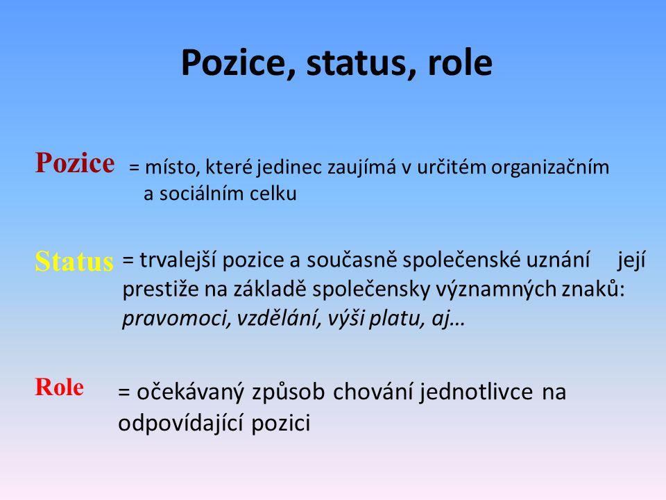 Pozice, status, role Pozice = místo, které jedinec zaujímá v určitém organizačním a sociálním celku Status = trvalejší pozice a současně společenské u