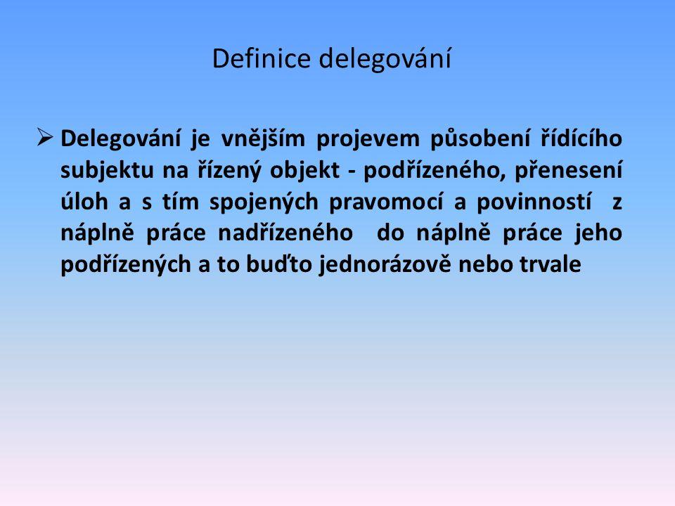 Definice delegování  Delegování je vnějším projevem působení řídícího subjektu na řízený objekt - podřízeného, přenesení úloh a s tím spojených pravo