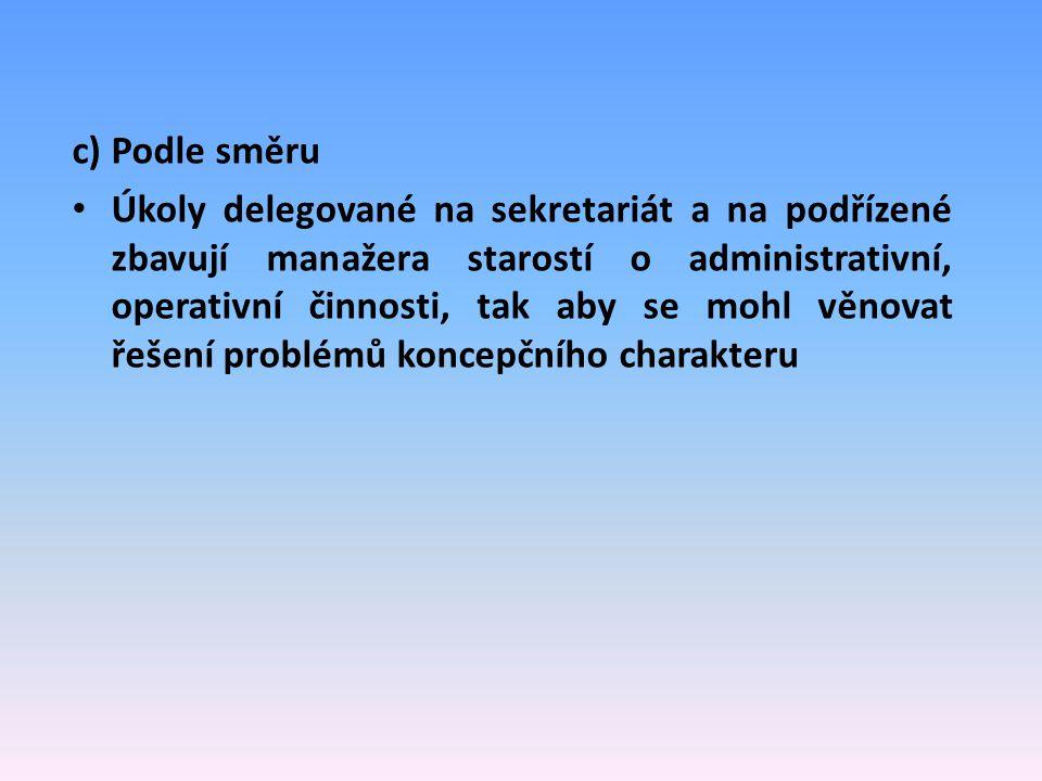 c) Podle směru Úkoly delegované na sekretariát a na podřízené zbavují manažera starostí o administrativní, operativní činnosti, tak aby se mohl věnova
