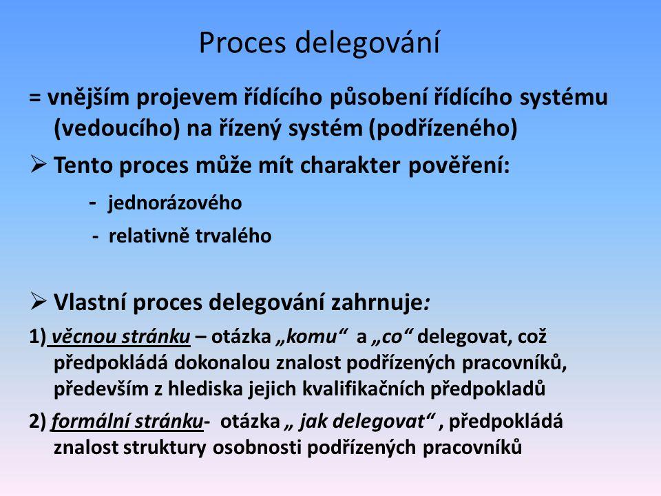 Proces delegování = vnějším projevem řídícího působení řídícího systému (vedoucího) na řízený systém (podřízeného)  Tento proces může mít charakter p
