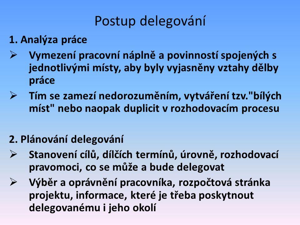 Postup delegování 1. Analýza práce  Vymezení pracovní náplně a povinností spojených s jednotlivými místy, aby byly vyjasněny vztahy dělby práce  Tím