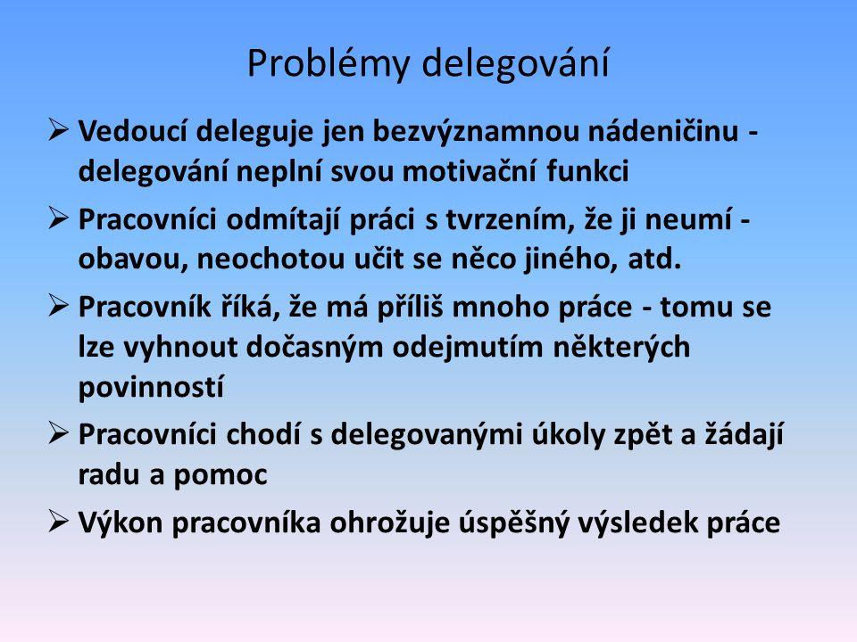 Problémy delegování  Vedoucí deleguje jen bezvýznamnou nádeničinu - delegování neplní svou motivační funkci  Pracovníci odmítají práci s tvrzením, ž